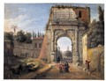 Rome, A View Of The Arch Of Titus With Figures Strolling Amongst Ruins - Caspar Andriaans Van Wittel