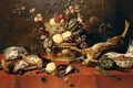 Still Life Of Fruit In A Basket Together With Game, A Bowl Of Fraises-De-Bois, Artichokes, Asparagus And A Squirrel Upon A Table Draped With A Red Cloth - Frans Snijders