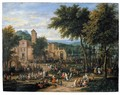 Landscape With A Village Festival, With Numerous Figures Dancing And Feasting Near A Church, A River Beyond - Peetre Bout