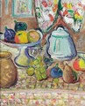 Still Life Of Fruit and pots - George Leslie Hunter