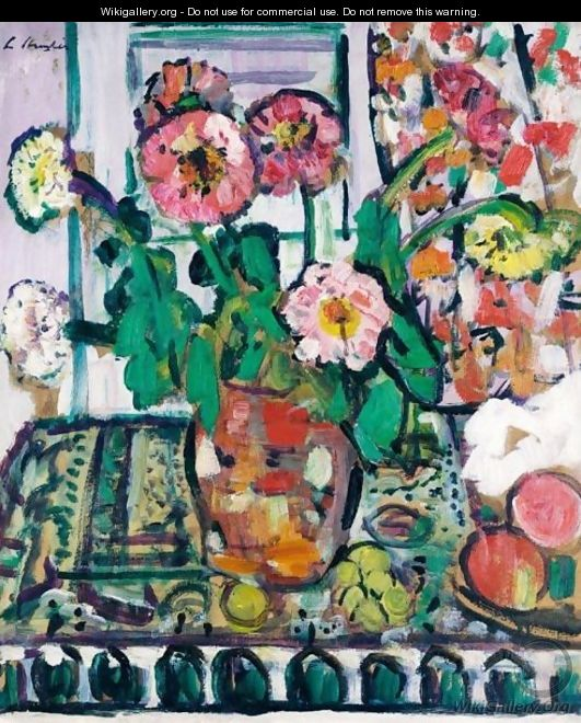 Still Life With Dahlias And Fruit - George Leslie Hunter