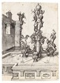 Design For An Elaborate Fountain Surmounted By A Statue Of St. Cristopher - South German School