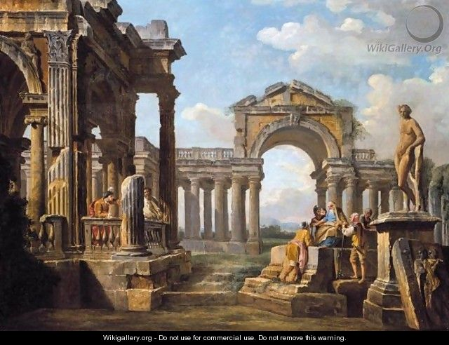 An Architectural Capriccio With A Philosopher And Soldiers Amongst Ancient Ruins - (after) Giovanni Paolo Panini