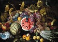 A Still Life Of Grapes, Plums, Watermelons, Peaches, Lemons, A Cardoon, An Open Pomegranate, Together With A Shell - Guiseppe Ruoppolo