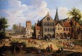 A Crowded Town Scene With Peasants Playing Skittles In Front Of A Church - Pieter Bout