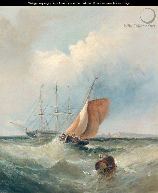 Shipping Rounding The Buoy Off The Coast - William A. Thornley or Thornbery