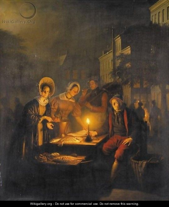 The Fish Market At Dawn - Petrus Van Schendel