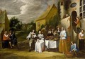 An Elegant Company Drinking And Eating Outside An Inn - (after) Gillis Van Tilborgh