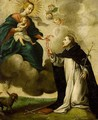 Saint Dominic Receiving The Rosary From The Virgin And Child - Flemish School