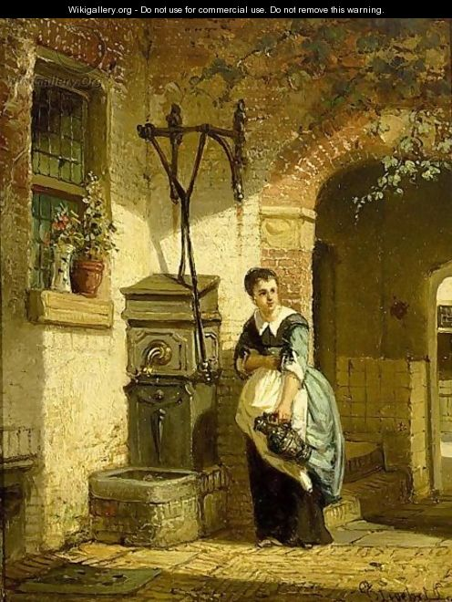 A Kitchen Maid In A Courtyard - Johannes Anthonie Balthasar Stroebel