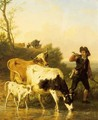 Tending The Herd - Edmond Jean Baptiste Tschaggeny