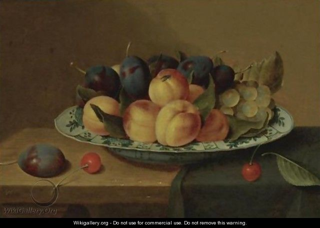 A Still Life Of Apricots And Plums In A Wan-Li Porcelain Bowl - Jacob van Hulsdonck