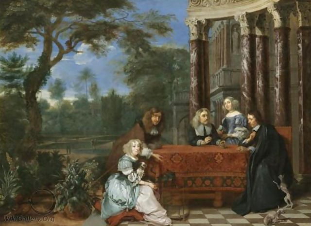 A Family Seated At A Table In An Elegant Garden Exterior - Gonzales Coques