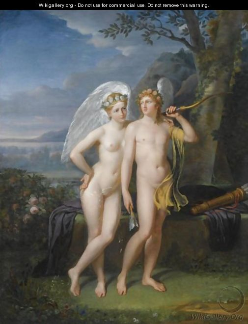 Cupid And Psyche In A Landscape - Robert-Jacques-Francois-Faust Lefevre