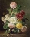 A Still Life Of Flowers In A Glass Vase On A Marble Ledge - (after) Jan Frans Van Dael