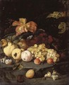 Still Life With Summer Fruits Including Apples, Grapes, A Peach, A Plum, Blackberries, Hazelnuts, Walnuts And Other Objects - Jan Weenix