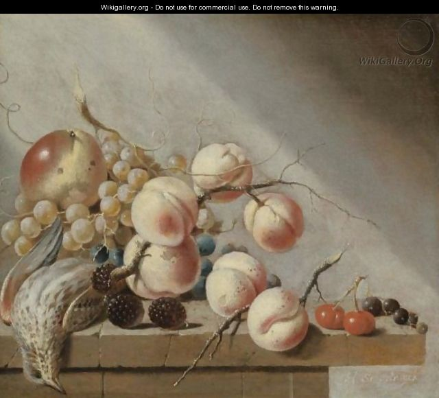 Still Life Of Peaches, An Apple, Grapes, Blackberries, Cherries And Blackcurrants - Harmen Steenwijck
