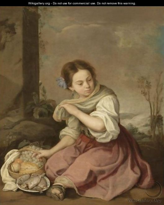 A Young Girl Seated In A Landscape, Holding A Basket Of Fruit And A Plate Of Fish - (after) Murillo, Bartolome Esteban