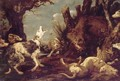 A Landscape With Hounds Attacking A Boar - Paul de Vos
