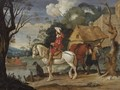 River Landscape With Cavaliers Waiting For A Ferry - Pieter Boddingh Van Laer