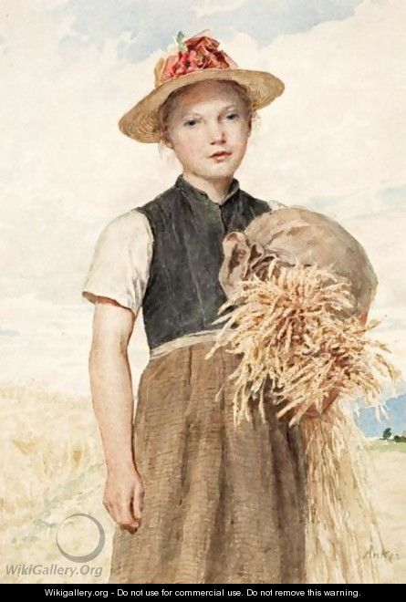 Madchen Mit Garben Girl With Sheaves - Albert Anker