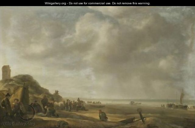 A Beach Scene On The North Sea Coast Of Holland, With Fishermen Displaying Their Catch - Simon De Vlieger