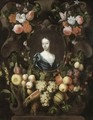 Portrait Of A Lady, Head And Shoulders, Surrounded By A Stone Cartouche And Garlands Of Fruit And Flowers - Frans Van Everbroeck