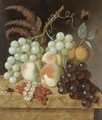 Still Life With Peaches, Apricots, Grapes, Berries, A Fly And A Butterfly On A Marble Ledge - (after) Jan Evert Morel