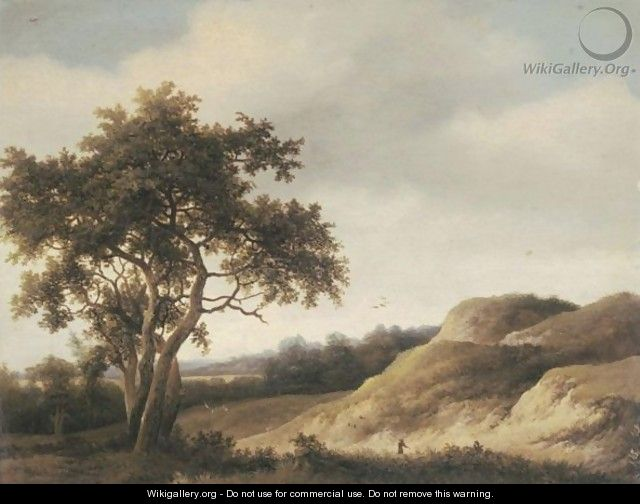 A Dune Landscape With A Solitary Figure - Johan Lagoor