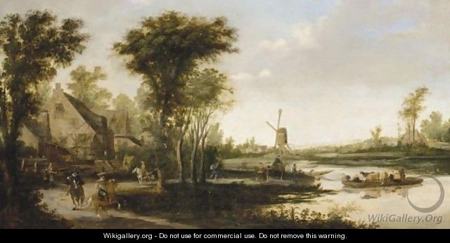 A River Landscape With Cattle And Drovers Being Ferried Across A River, A Windmill Beyond - (after) Jan Van Goyen