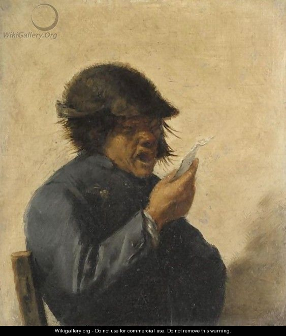 An Interior With A Peasant Singing, Half Length, Wearing A Blue Coat - (after) Adriaen Brouwer