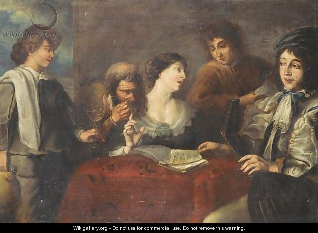 An Interior With An Elegant Company Drinking And Playing Music - (after) Jan Cossiers