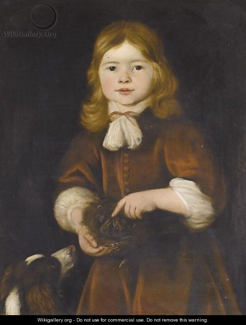 Portrait Of A Young Boy, Half Length, Wearing Red And Holding A Bird