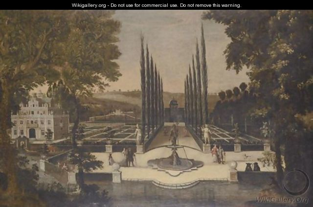Elegant Figures Promenading In A Formal Garden - (after) Pieter Gysels