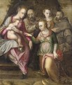 The Mystic Marriage Of Saint Catherine With An Angel And A Franciscan Saint - Central Italian School