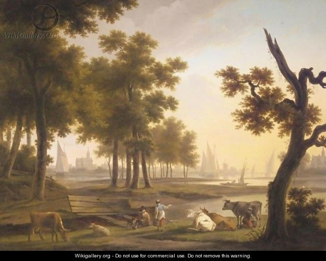 A River Landscape With A Dairymaid Milking Cows, Together With Other Figures, A Town Beyond - Frans Swagers