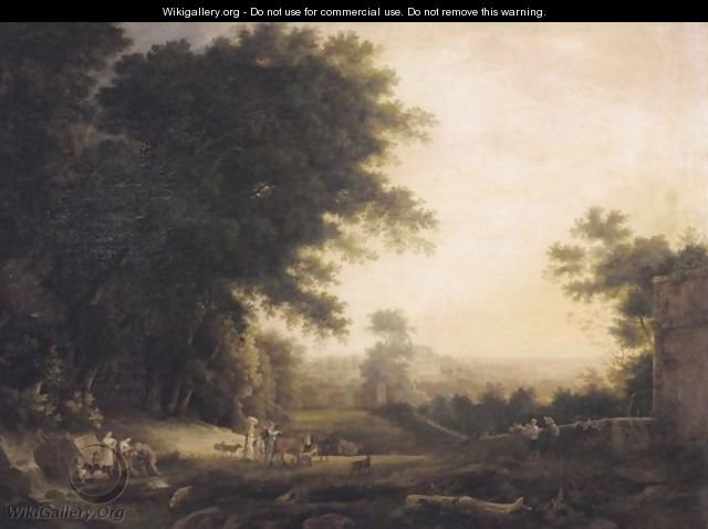 An Italianate Landscape With Figures Drinking From A Spring, A Villa Beyond - (after) Claude Lorrain (Gellee)