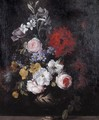 A Still Life Of Flowers Including Roses, Carnations And Lilies In An Urn On A Stone Ledge - (after) Jean-Baptiste Monnoyer