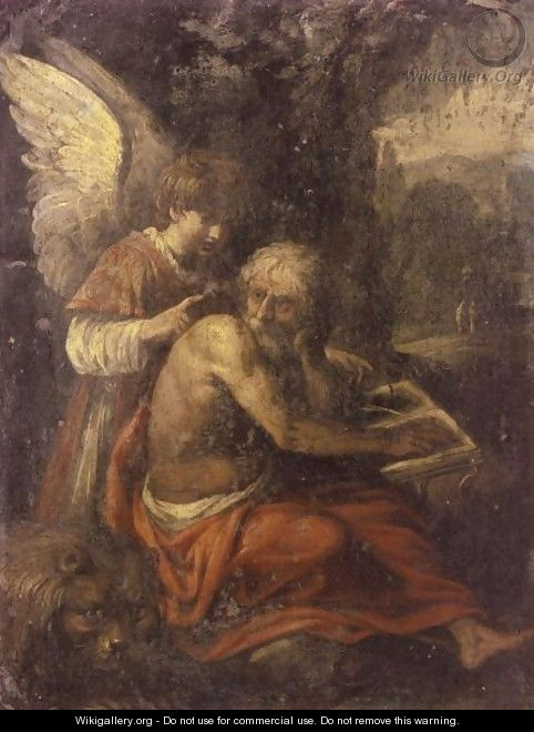 Saint Jerome In The Wilderness, Instructed By An Angel - (after) Carlo Saraceni