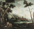 A Pastoral Landscape With Figures Resting In The Foreground And Men Fishing In The River Beyond - North-Italian School