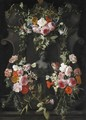 A Female Stone Bust Set In A Stone Cartouche, Surrounded By A Garland Of Flowers Including Roses - Carstian Luyckx