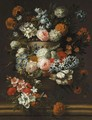 A Still Of Flowers In A Stone Urn, Including Roses And Chrysanthemums - Jan-baptist Bosschaert
