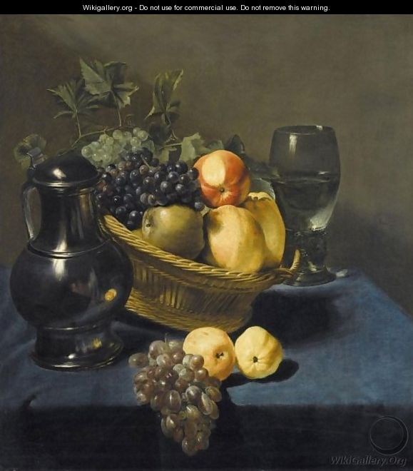 Still Life With Apples And Grapes In A Wicker Basket - Judith Leyster