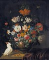 Still Life Of Flowers Including Irises, Roses, A Crown Imperial Lily, Marigolds And Parrot Tulips - Jacob Marrel