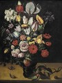 Still Life Of Roses, Tulips, Irises, Marigolds And Other Flowers In A Roemer - Antwerp School