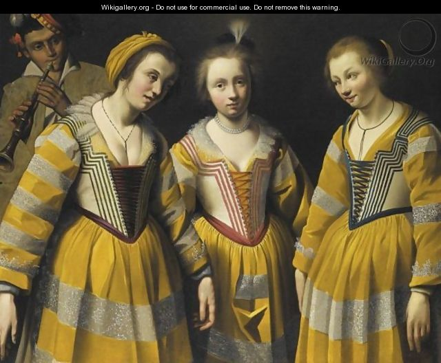 Three Young Girls Wearing Yellow Dresses - French School