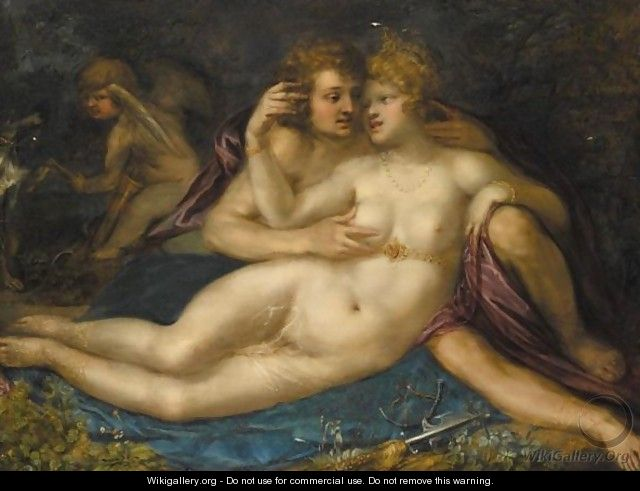 Mars And Venus With Cupid - (after) Pieter Isaacsz