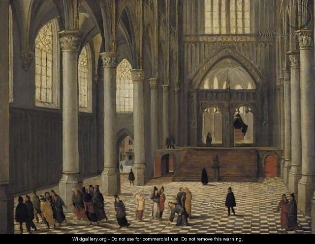 A Church Interior With Christ And The Woman Taken In Adultery - Abel Grimmer