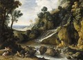 A Rocky Landscape With A Waterfall, Nymphs And Satyrs Resting By A River - Maerten Ryckaert
