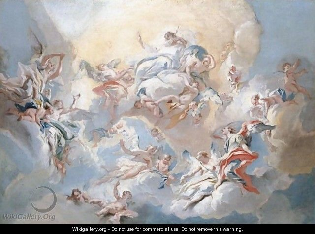 God The Father And Angels In Glory - Carlo Innocenzo Carlone